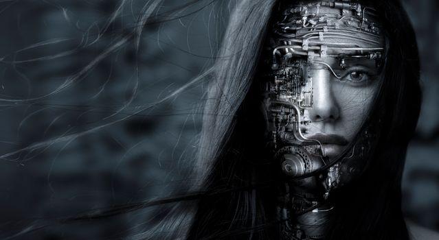 girl, robot, face, hair, view, Mono, black and white