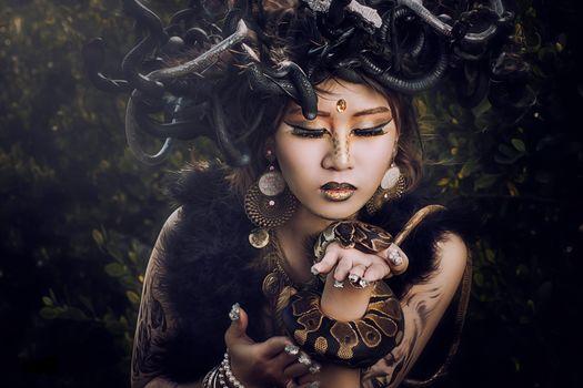 Medusa, girl, model, Asian, makeup, Snake, style