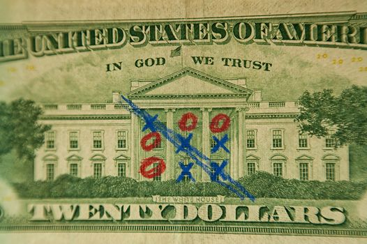 Dollars, note, noughts and crosses, game