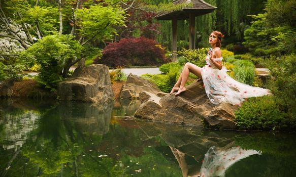 Elizabeth Hassell, model, pose, park, pond, reflection, nature, mood