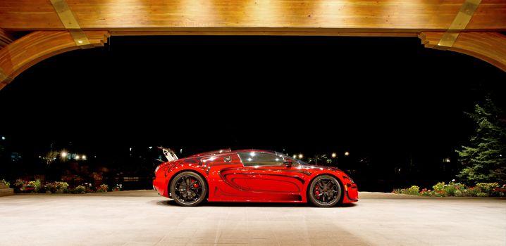 Bugatti Veyron, Bugatti, Veyron, гиперкар, красный