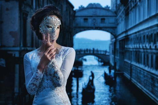 Venice, Italy, Venice, Italy, girl, bride, mask, style