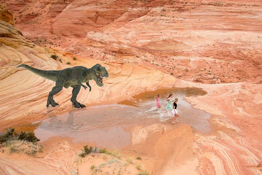 dinosaur, Girls, chase