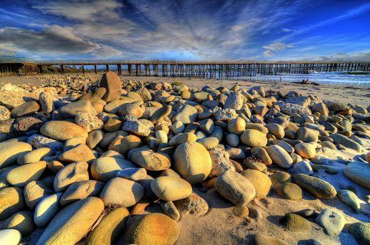 sea, shore, stones, landscape