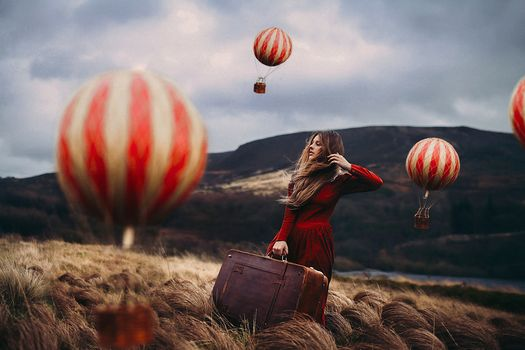 girl, Red Dress, suitcase, Balloons