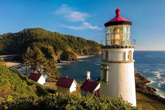 Heceta Head Light is a lighthouse, Oregon Coast, landscape