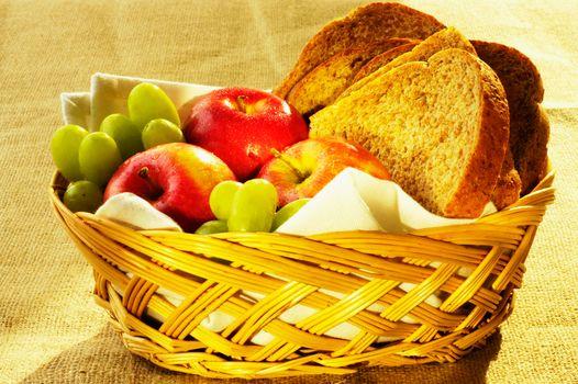 food, Food, cookery, Food, apples, grapes, bread
