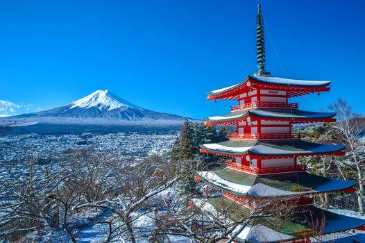 Mount Fuji, Chureito Pagoda, Fujiyoshida, japan, Fujiyama, Fuji, fujiyoshida, Japan, pagoda, mountain, volcano, winter, panorama