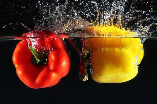 pepper, vegetables, peppers, water, LIQUID, spray