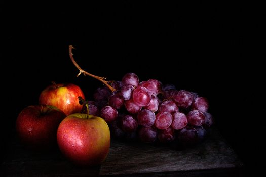 fruit, grapes, apple