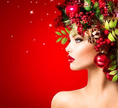 Christmas Winter Woman, girl, hairstyle, mood