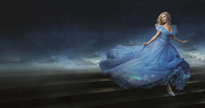 Cinderella, movie, film, ROMATIC, blue dress, blonde, Lily James, Ella, Richard Madden, prince, Helena Bonham Carter, godmother, fairy, Cinderella, 2015, movie, film, romantic, blue dress, blonde, fog, Lily James, ELLA, Richard Madd