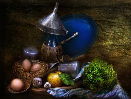 still life, table, food, eggs, apple, etc.