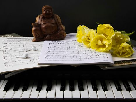 piano, Keys, music, figurine, TULIPS, Flowers, headphones, style