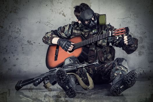 guy, guitar, mask, automatic, AK, camouflage, situation