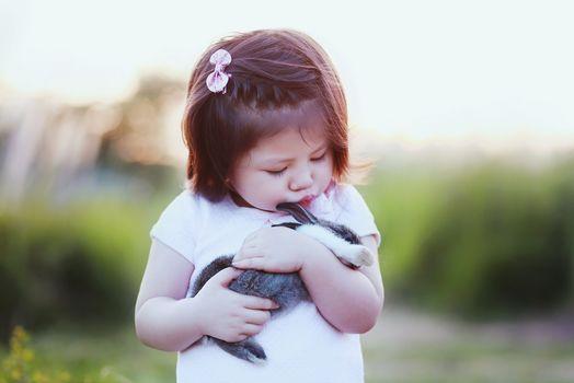 girl, rabbit, Friends, friendship