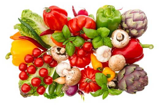 овощи, помидоры, красный перец, зелень, грибы, еда