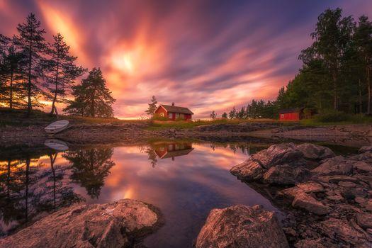 Kisenok рулит, домик, небо, водоем, пейзаж, природа, закат, деревья, отражение, лодка, камни