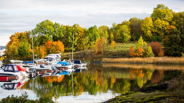 reflection, boats, water, Bygdoy, Oslo, norway