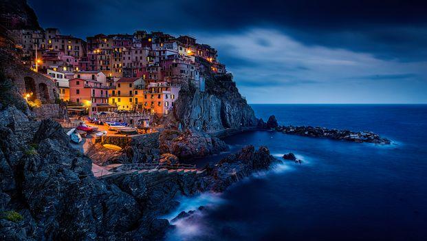 Manarola, Cinque Terre, Italy, Ligurian Sea, Manarola, Cinque Terre, Italy, Ligurian Sea, Rocks, sea, building, landscape, coast