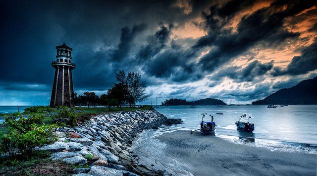 lighthouse, Island, Bay, boats, Clouds, sea, Langkawi, malaysia
