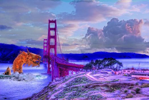 sea serpent, Sea Serpent Attack San Francisco, hdr