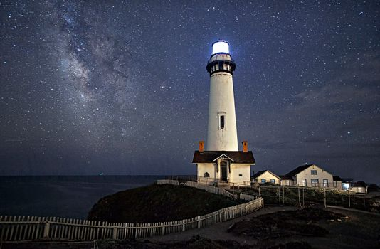 lighthouse, Pigeon Point Lighthouse, Pacific Ocean, stars, night, Coast, California, USA