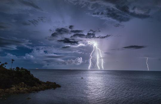 Koh Samui Island, Thailand, Gulf of Siam, Pacific Ocean, Samui island, Reports, Siamskiy bay, Pacific Ocean, tropics, ocean, lightning, storm