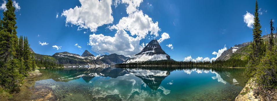 Скрытое озеро, Национальный парк Глейшер, Монтана, скалистые горы, Скрытое озеро, Национальный парк Глейшер, Монтана, Скалистые горы, озеро, горы, облака, отражение, вид