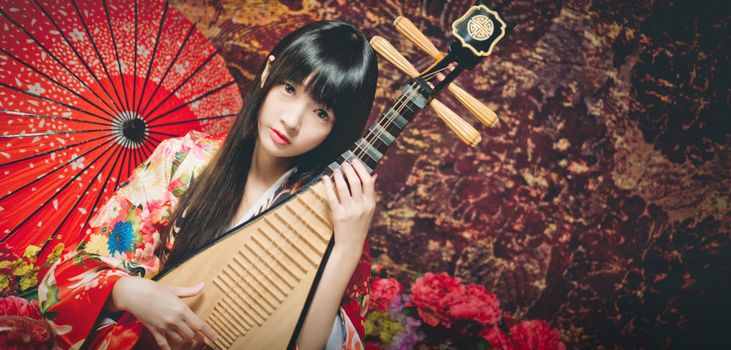 girl, Asian, sight, musical instrument, touch, lute, umbrella