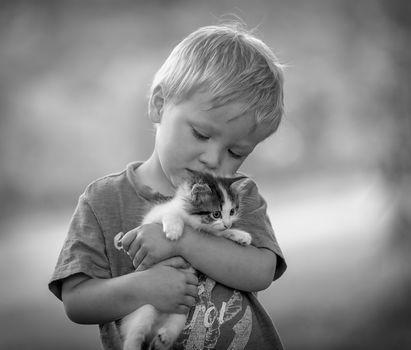 boy, kitten, love, friendship, friends, monochrome, black and white, mood