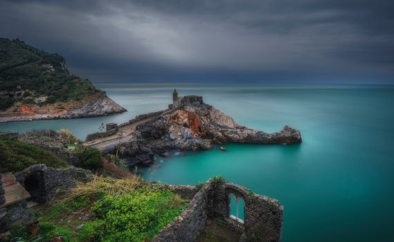 Church Of San Pietro, Portovenere, Liguria, Italy, Ligurian Sea, St. Peter's Church, Portovenere, Liguria, Italy, Ligurian sea, sea, coast, church, ruins