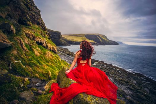Faroe Islands, Denmark, Atlantic Ocean, Faroe islands, Denmark, Atlantic Ocean, girl, Red dress, dress, ocean, sunset, coast, mood