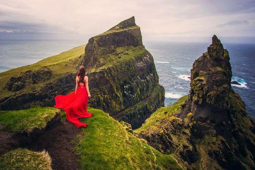 Faroe Islands, Denmark, Atlantic Ocean, Faroe islands, Denmark, Atlantic Ocean, girl, Red dress, dress, ocean, coast