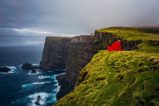 Mykines, Faroe Islands, Denmark, Atlantic Ocean, Mykines island, Faroe islands, Denmark, Atlantic Ocean, girl, Red dress, ocean, coast, mood
