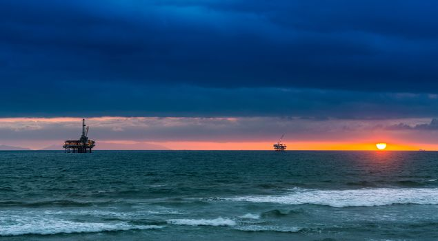 Sea Cliff, California, Pacific Ocean, California, Pacific Ocean, sunset, ocean, oil platforms, horizon