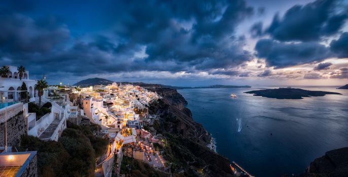 Fira, Santorini, Greece, Aegean Sea, wastage, Santorini, Greece, Aegean Sea, sea, coast, Island