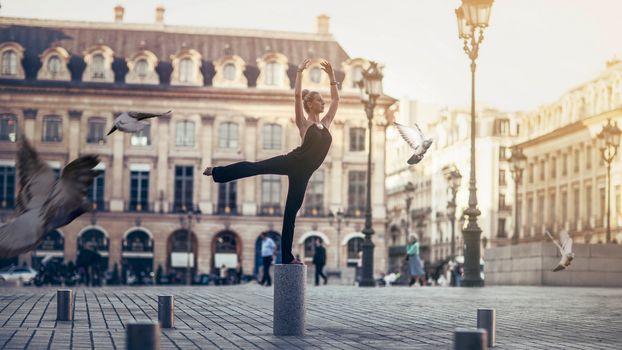 Paris, France, girl, dancer, area, lights, pigeons, birds
