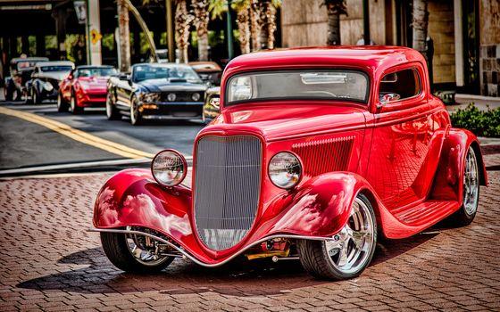 1934 Форд купе, брод, ретро, классика, красный