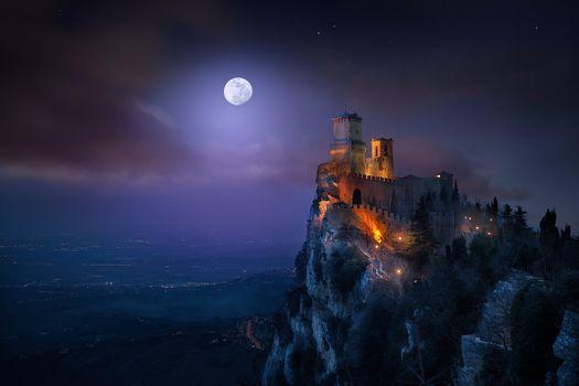 Nature, Landscape, Castle, Night, Guaita Fortress, San Marino