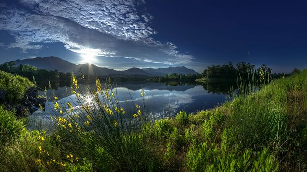 the mountains, water, Coast, grass, flowers, the sun, rays, sky, clouds, cosiness, summer, blue