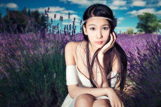 девушка, азиатка, природа, портрет, лаванда, поле, цветы, сидит