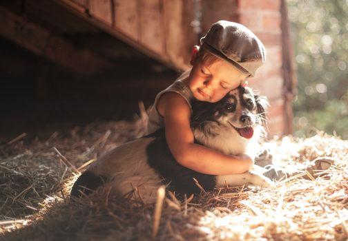 boy, dog, friends, friendship, cap, hay