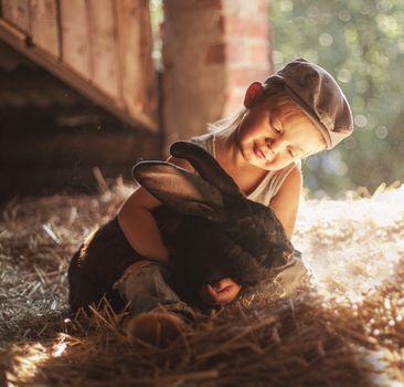 boy, rabbit, friends, friendship, cap, hay