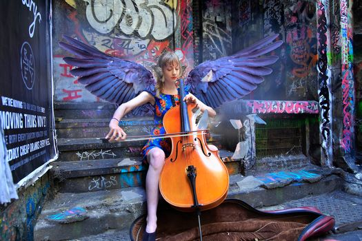 girl, cello, wings