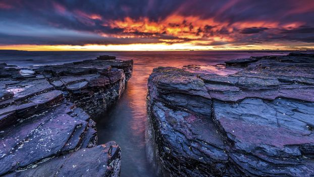 sea, rock, groups, a rock, sunset, clouds