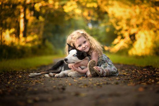 girl, dog, Border-Collie, friends, friendship