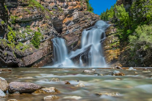 Cameron Falls, Cameron Creek, Alberta, Canada, Waterton Lakes National Park, Canadian Rockies, Cameron Falls, Cameron river, alberta, Canada, National Park Waterton Lakes, Canadian Rockies, waterfall, the mountains, stones, River