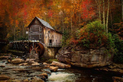 Государственный парк Babcock, Барыш мельница, Западная Виргиния, река, осень, лес, деревья, мельница, пейзаж