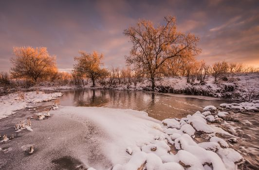 Cherry Creek State Park, Colorado, sunset, River, trees, winter, landscape